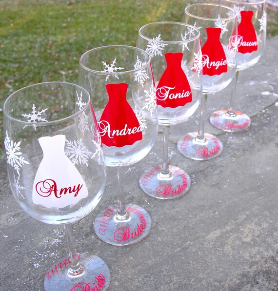 Bridesmaid wine glasses bridesmaids gifts by waterfalldesigns