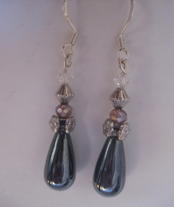 2 inch hematite teardrop earrings with pewter and purple and white crystals