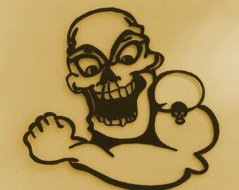Skeleton, Macbre, Metal Art, Skull,Tattoo art,Business,Gothic, Biker,Gift
