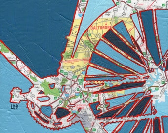Bike Baltimore print -- featuring Baltimore, Maryland, Johns Hopkins bike art