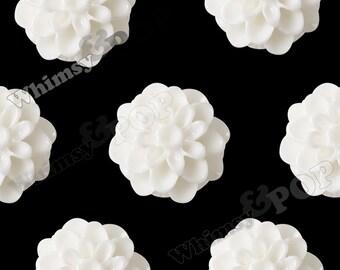 10 - Cream White Chrysanthemum Flower Resin Cabochons, Mum Shaped, Flower Cabochons, Chrysanthemum Cabochons, Flat Back, 13mm (R4-036)