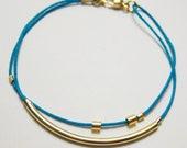 Minimalist gold tube stacking bracelet in turquoise