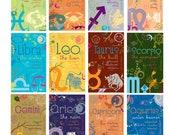 """Zodiac Magnet 2"""" x 3.5"""" - Aquarius, Pisces, Aries, Taurus, Gemini, Cancer, Leo, Virgo, Libra, Scorpio, Sagittarius, Capricorn"""