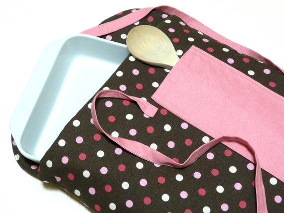 Insulated Potluck Dish Cozy Pink and Brown Polka Dots