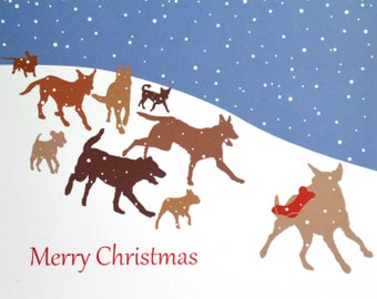Dashing Dogs Christmas Card