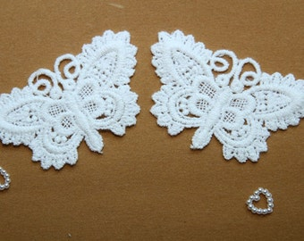 Butterfly - White - Lace Fabric Doily Trim - 2 Pcs