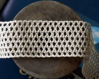 """Crochet Grid Lace Trim - Beige Color - 1.4"""" wide - 1 yard"""