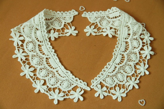 Alice Crochet Neck Collar - White - Lace Fabric Doily Trim - Lace Neck Collar Doily Applique - 2 Pcs