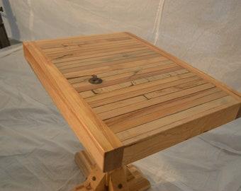 Reclaimed Side Table:  Traditional Trestle Leg Design