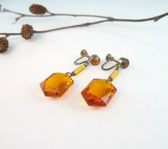 Czech Art Deco Earrings Burnt Orange Glass Dangle  Screw Back 1920s Signed Jewelry