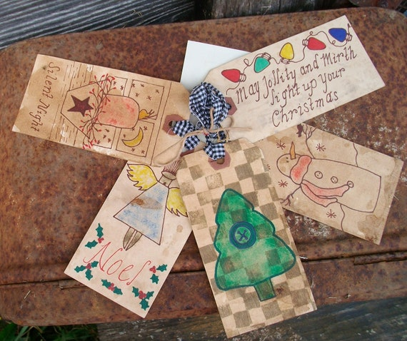 Items similar to Primitive Christmas Gift Tags - Stained ...