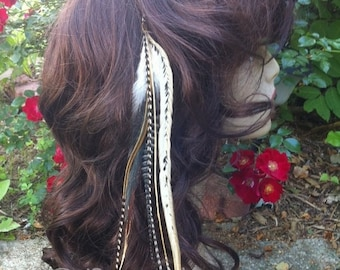 Tribal Long Feather Extension Hair Clip In Natural And Grizzly Feather Extension SALE With Thick Fat Feathers