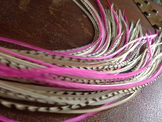 Feather Hair Extensions Long Grizzly Pink Cream Valentine 5 Bonded Real Rooster Hair Feathers,  Pink Feather Extensions