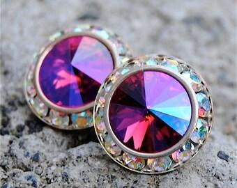 Hot Pink Mist Aurora Borealis Earrings Sugar Sparklers Swarovski Hot Pink Mist Northern Lights Rhinestone Stud Earrings Mashugana