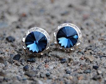 Navy Blue Swarovski Stud Earrings Small Sugar Sparklers Swarovski Navy Blue Rhinestone Vintage Stud Earrings Mashugana