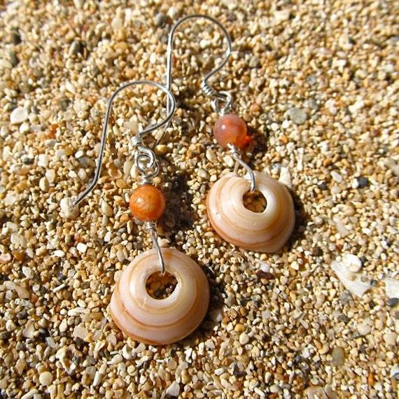 Puka Shell Earrings, Maui Hawaii Beach Jewelry Sterling Silver, Peach, Little Girl