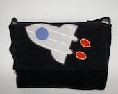 KIKI  Messenger Bag with Rocket, Corduroy Messenger Bag for Boys, Preschool Bag, School Bag