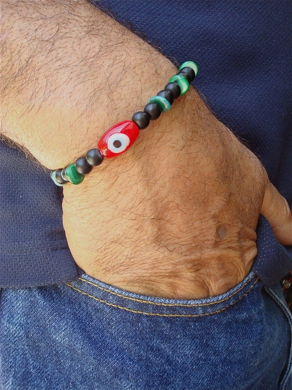 Men's Evil Eye Protection with Red Lampwork Bead, Black Matte Jet Beads, Green Shell, Antique Brass - Men's Spiritual Bracelet