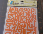 Orange Glitter Letter Stickers