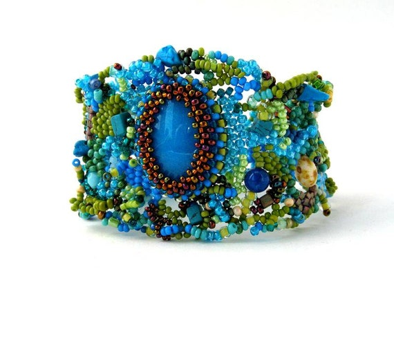 RESERVED FOR Hanaa - Blue and green Beaded bracelet