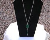 Druzy Quartz and Green Jade Gemstone Jewelry Necklace