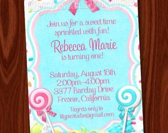 Sweet Shoppe Birthday Invitation PRINTABLE Digital File