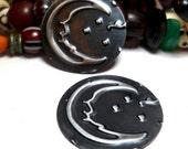 Handmade Jewelry Components Embossed Black Metal Discs with crescent moon Design 25mm 2 Pieces