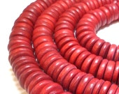 Red Wooden Beads Heishi Disc Beads 15mm 20 pieces Crimson Beads