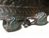 Mykonos Beads Casting Cord Ends Bronze with Patina and Scroll Work Square Hook End 10mm x 38mm