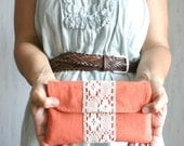 Linen and lace Clutch purse flap zip and magnetic closure bridesmaid clutch