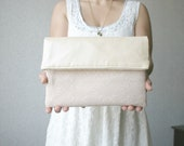 Leather and lace fold over clutch pearl effect faux vegan leather bridal clutch bridesmaids