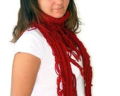 women infinity Scarf . a Block Infinity Scarf. Loop Scarf, Circle Scarf, Neck Warmer. red Crochet Infinity