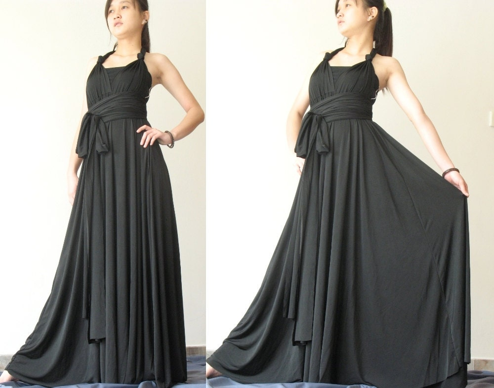convertible wrap dress black infinity dress long maxi dress/
