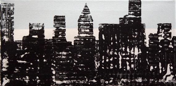 NYC Skyline, New York Painting, Original Abstract Art, Acrylic Painting, Wall Art Decor