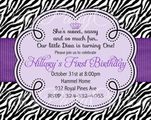 PURPLE ZEBRA invitation - birthday, baby shower - YOU Print - Colours can be changed