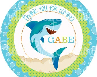 SHARK party favor tags - 3, 2.5 or 2 inch - YOU Print