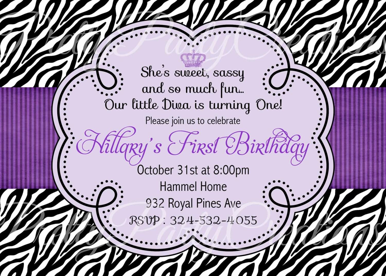 PURPLE ZEBRA invitation birthday baby shower YOU Print