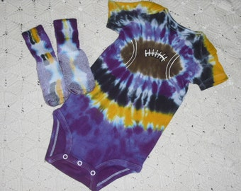 Tie dye 18 month bodysuit and socks- Purple and gold Football, 350