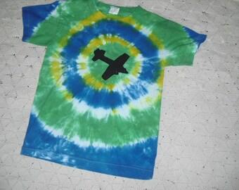 SALE!!  Tie dye shirt, youth medium, Bullseye with airplane