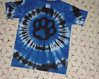 Tie dye shirt, small youth, Blue Paw