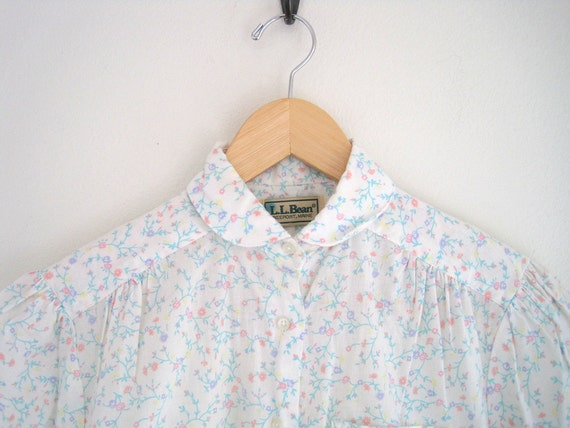 vintage ditzy floral print peter pan collar blouse