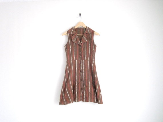 vintage 60s brown floral striped dress with button down