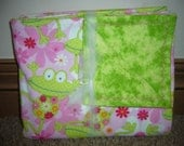 Pink Flowers and Green Frogs Receiving Blanket - Swaddling - Baby Shower Gift