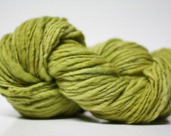 Thick and Thin Yarn Slub ttS(tm) Handdyed  Fine Merino 66tts12005 Artichooke Green