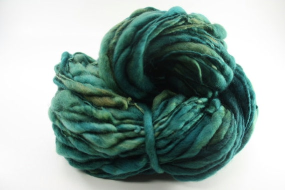 RESERVED Thick and Thin Yarn Slub tts Handspun Hand dyed Self Striping LR Blue Fesue 02