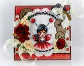 Saturated Canary Ladybug Thank you handmade Greeting Card