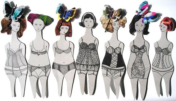 8 Funky Art Dolls/ Bookmarks /Bachellorete hen Party Decoration/ favor / magnet / lesezeichen /bookclub favor