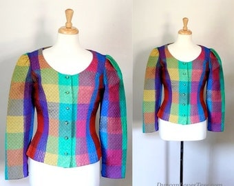 80s Jacket / Harlequin Jacket / Bold Statement Blazer / 80s Top  /  Paris Fashion / 80s Glam