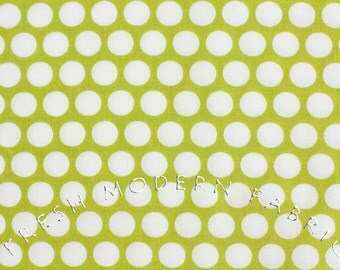 Reverse Dots in Lime Green, Mod Basics, Birch Fabrics, 100% Certified Organic Cotton