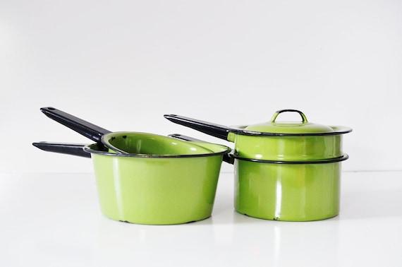 Trio of Avocado Green Enamel Pots